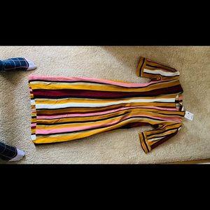 NWT Zara Striped Cap Sleeve Fitted MIDI Dress S